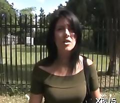 Teasing a sexy bitch in a car