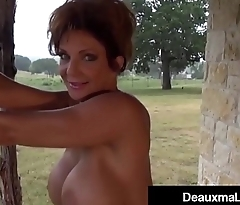 Busty Cougar Deauxma Oils Everywhere &amp_ Exercises Nude On Her Porch!