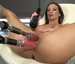 Busty MILF drilled with two dildo paraphernalia