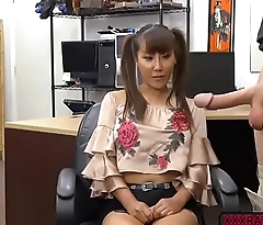 Busty Asian Tiffany Rain fucks pawnmans cock in the office