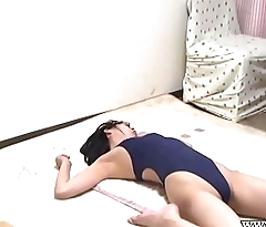 Peeping the Japanese Babe in Swimsuit Yoga Exercise