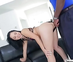 Busty babe Kristina Rose sucks a black cock ass to frowardness