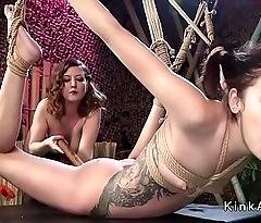 Sexy ass brunette lesbian spanked
