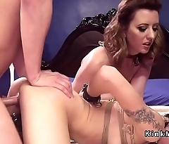 Headed up slave anal banged in threesome