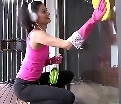 OPERACION LIMPIEZA - Sexy Colombian maid Sofia Candela gets oiled up plus fucked