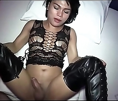 Shemale in latex gets ass screwed