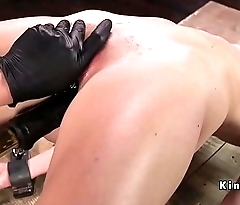 Slave anal toyed and made to squirt