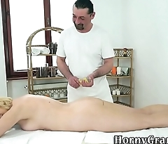 Massaged granny spunked