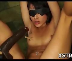 Seductive bimbo enjoys coarse slavery sex
