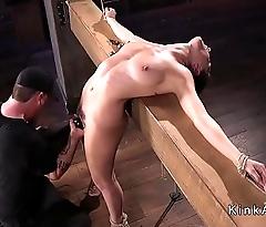 Brunette surrounding breakage point bondage tormented