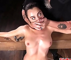 BDSM sub choked and slapped before fingering