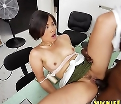 Asian amateur doggystyled by chubby black cock