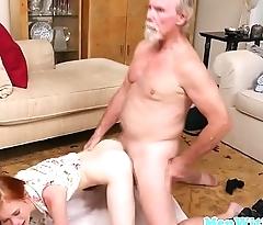 Tiny redhead sucks and fucks with pensioner