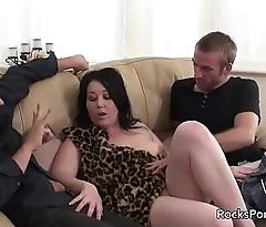 Cavegirl blows 3 cocks before triple penetration