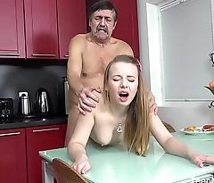 Old-n-Young.com - Angel - Older man cums on fresh tits for dessert