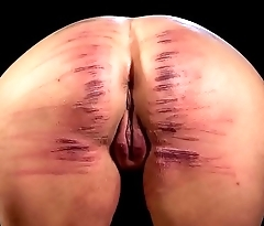 Latitudinarian ass brutally caned