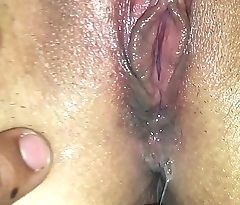 Real Amateur College Girlfriend close up of creamy orgasm and distressed by