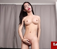 Bigtitted ladyboy rubbing her sweet asshole