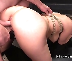 Blonde relating to bondage is fucked and vibed