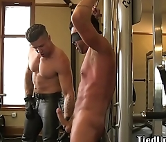 Blindfolded stud mouthfucked by hunk in BDSM