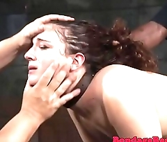 Spitroasted submissive drooling vulnerable doms cock