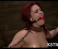Nasty brunette in latex in wild slavery