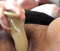 A fat girl jumps on a detailed rubber dick and masurbiruet them his hairy pussy
