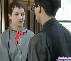 Two school girls hard fuck with teacher