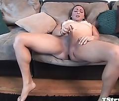 Casting trans babe enjoys wanking