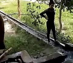 sexy punjabi girls bathing open-air in group