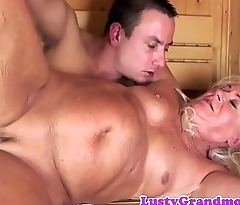 Saggy grandma banged hard in the sauna room