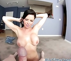 Classy titfucking MILF working on cock POV
