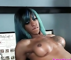 Trans ebony babe jerks off after working out