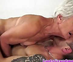 Interesting granny enjoys riding hard cock