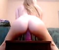 Hot Blonde Teen Riding 8 Inch Dildo - Amateur Teen Webcam