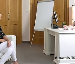 Lesbian female agent and comme ci licking
