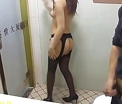 white collar female work bank make love with manager in restroom