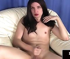 Bootylicious femboi strokes her hard cock