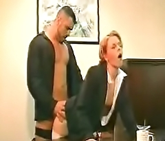 Cum On Clothes - Blonde Secretary Glasses White Stockings Starless Heels Fucked On Desk-Cum On The brush S