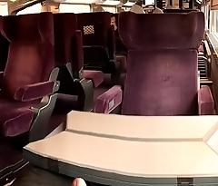 Im Zug (TGV) gewichst - Wank in Train