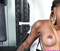Ebony tgirl twerking and jerking off at gym