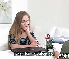 Sexy female agent is cumming anew