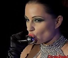 Teasing mistress solo toying her pussy