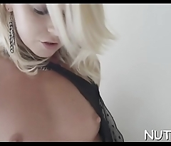 Sexy solo play with a large toy