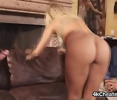 Cuckold watches sex addict fit together on high cock