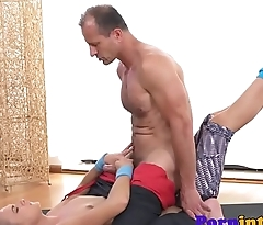 Gorgeous sporty babe pounded by lucky coach