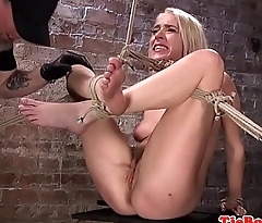 Restrained sub squirts in rough BDSM