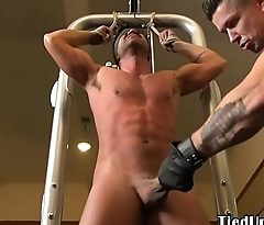 Muscular stud flogged at the end of one's tether ripped maledom