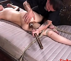 Bound sub gagged and dildoed in tight ass