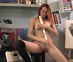 Candy Inserts A Baseball bat in her shaved pussy to masturbate
